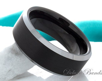 Black Tungsten Wedding Band Mens Tungsten Ring 8mm Brushed Beveled TwoTone Tungsten Anniversary Ring Promise Ring Couple Ring Comfort Fit