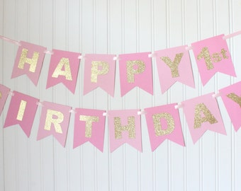 Gold, Pink, Happy Birthday Banner/ Girl Birthday/ Princess Party/ Party Decorations/ Custom Name/ Personalized