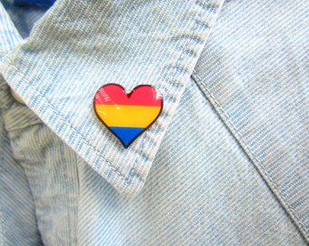 Pansexual Pride Lapel Pin, Pansexual Pride Accessories, Pansexual Heart Pin,  LGBT Pin, LGBT Flag, LGBT Gift, Pansexual Flag Brooch