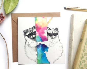 Cute Racoons Thank you Greeting Card