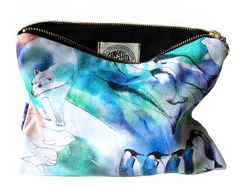 Northern Lights Cotton Pouch Bag