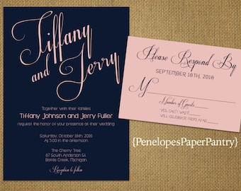 Navy and Blush Wedding Invitations,Elegant,Sophisticated,Traditional,Simple,Spring,Summer,Opt RSVP,Customizable With Envelopes