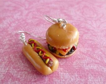 Hot Dog Cheeseburger Miniature Food Jewelry Polymer Clay Earrings