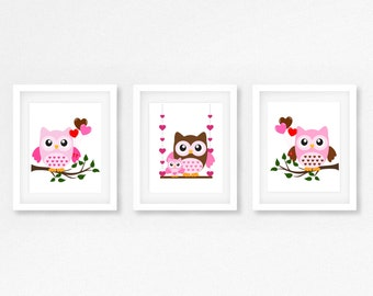 Owl Nursery Print, Baby Girl Nursery Decor, Pink Nursery Art, Owl Nursery Wall Art, Handmade Gift for New Baby, Girls Bedroom Decor