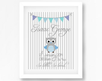 Birth Stats Print, Baby Boy Birth Print, Unique Gift for Baby Boy, Owl Birth Print, Gift for New Baby Boy, Blue Grey Owl Nursery Wall Art