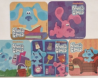 Blues Clues Refrigerator Magnets, Party Favors, 5 Nickelodeon Fridge Magnets Set, Blue Magenta Mailbox