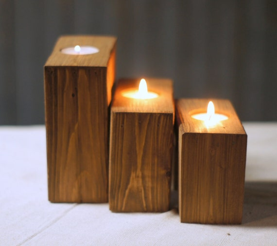 Reclaimed Wood Candle Holder Rustic Tea Light By Gftwoodcraft