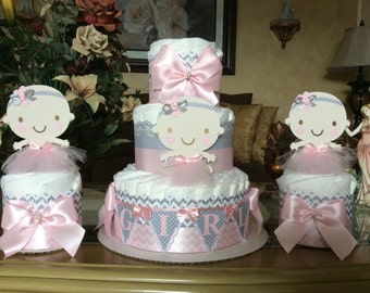 Diaper Cake Set Of 6 Diaper Cakes Baby Girl Shower Pink And