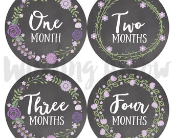 Baby Monthly Milestone Stickers Baby Girl Month Sticker Baby Shower Gift First Year Belly Stickers 12 Months Purple Chalkboard Flowers