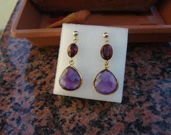 Drop earrings with amethyst and amber at 585-er Goldfilled, fantastically beautiful!