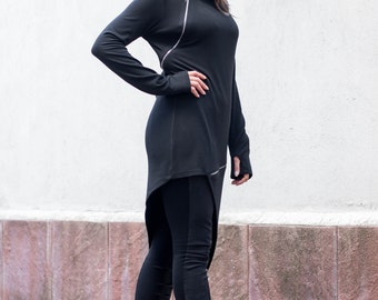 Black Fitted Tunic, Plus Size Tunic Top, Black Tunic, Maternity Tunic, Asymmetric Tunic, Plus Size Clothing, Gothic Top, Tunic Dress