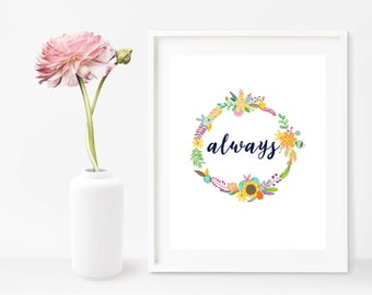 Digital Art Print, Typography Art, Typography Printable, Hubba Hubba, Minimalist Art Print, Wall Art Print, Floral Wreath, Harry Potter