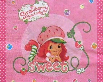 Set of 2 pcs 2-ply ''Strawberry shortcake'' paper napkins for Decoupage or collectibles 33x33cm, Decopatch napkins, Kids napkins, Servetten