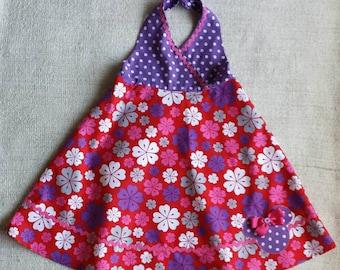 Petals and Polka Dots Hawaiian Tropical Flower print girls halter dress with Minnie Mouse appliqué