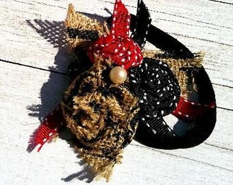 Red, Black, and Printed Burlap Rosette Headband