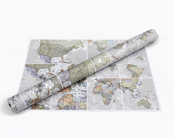 World Map Wrapping Paper - classic, map paper, travel, gift wrapping, gift for him, gift for her, map, poster, world map, free shipping
