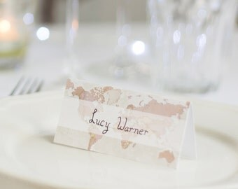 Antique World Map Wedding Place Cards Pack Of Ten