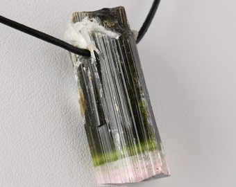 Natural Paprok Tricolor Tourmaline Crystal Pendant