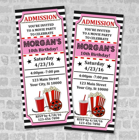 Well-liked Movie Ticket Birthday Party Invitation, Custom Vintage Style Movie  KI77