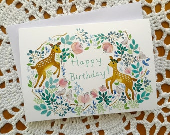 Birthday card, birthday card with watercolour illustration, forest birthday card, fawn birthday card