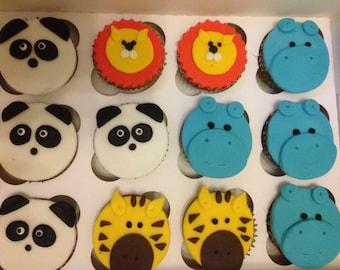 Handmade jungle Animal fondant cupcake toppers  -6
