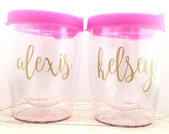 Personalized Wine Tumblers - Bachelorette Party Favors - Wine Glass - Stemless Wine Glass - BPA Free Acrylic Bridal Party - Pink and Gold