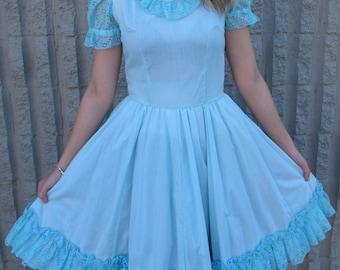 VinTaGe BluE WhiTe PoLka Dot RuFFles Full Skirt 50's RockAbilly PinUp Dress XS-Small