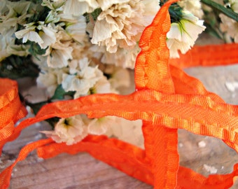 Orange Double Ruffle Ribbon