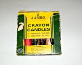 Six Vintage Jumbo Emergency Crayon Candles in Original Box
