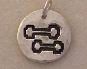 Dumbbells Pendant, PMC Fine Silver