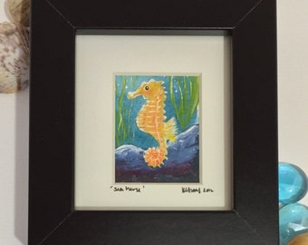 Original framed mini underwater painting. Seahorse   Free UK delivery.