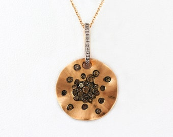 0.49ct Fancy Colored Champagne Diamonds Satin Brush 14K Rose Gold Floral Necklace - CUSTOM MADE