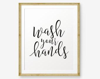 Bathroom Signs Wash Hands wash your hands | etsy