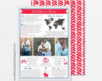 Year in Review Infographic Card, Christmas Card, Holiday Card, New Year's Card, Photo Card, Digital Design, Holiday Card #23