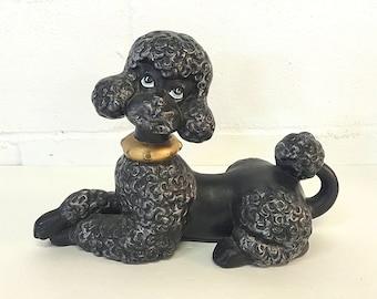 Black Poodle Statue Dog Figurine Ceramic Hand Painted Vintage Kitsch Dog Lover Gift Poodle Lover Gift