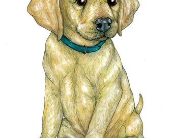 Lab Puppy Greetings Card