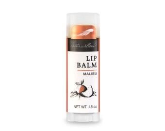 Malibu Lip Balm, Organic lip balm, Tropical lip balm, Coconut, Tangerine, Essential oil lip balm, best lip balms, Fair Trade lip balm