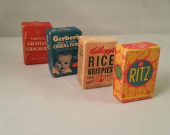 Vintage miniature dollhouse groceries food - great condition