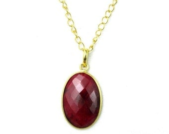 20% off Red Ruby Pendant, July Birthstone Necklace, Red Ruby Birthstone Jewelry, Ruby Birthstone Necklace