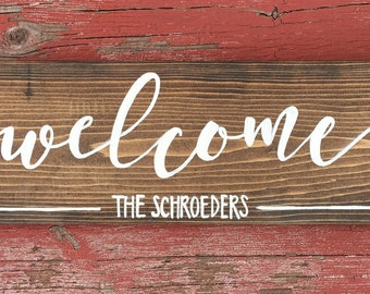 Welcome Sign - Hello Wooden Sign - Reclaimed Wooden Sign - Rustic Wedding Reception Sign Welcome Sign - Rustic Wooden Welcome Sign