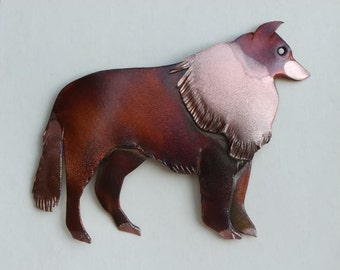 Flame painted copper Collie, pin