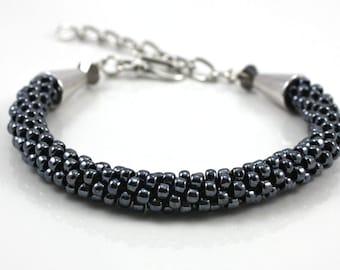 Gray Beaded Bracelet - Hematite Bracelet -  Beaded Kumihimo Bracelet - Mothers Day Gift- Braided Bracelet - Goth Bracelet - Minimalist Jewel