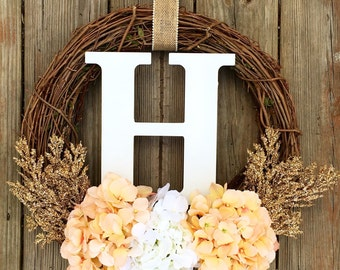 Monogram Wreath, Summer Wreath,Summer Decor, Summer Monogram Wreath, Summer Wreath, Spring Door Wreath, Wedding Wreath