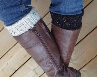Reversible Boot Cuffs - Boot Socks - Knit Leg Warmer - Boot Accessories - Boot Cuffs