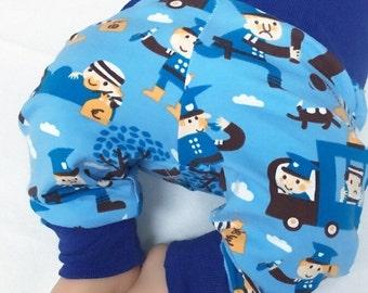 Organic Newborn Pants, Organic Boy Pants, Baby boy pants, blue boy pants, Size 0-2 month, Police boy pants, Infant Boy Clothes