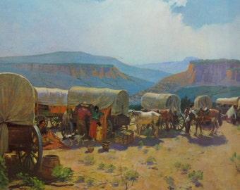 Vintage Wagon Train Lithograph - Covered Wagon Lithograph - Western Lithograph