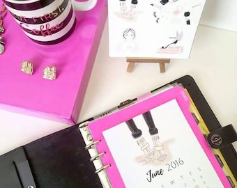 2016 Fashion Illustrated Desk Calendar + Planner Dashboard