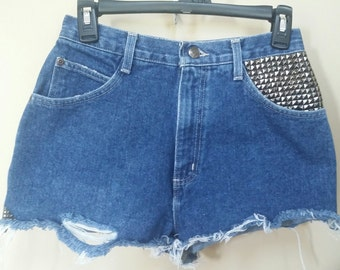 Jean destroyed shorts, Size 8 Upcylced/Altered (Waist 27 inch)  // Distressed Shorts // Size 8 Shorts  // Upcycled Shorts //