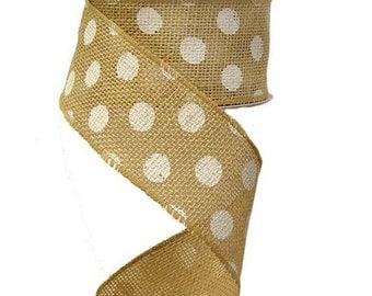 """2.5"""" x 10 yds Natural Jute Wired Edge Ribbon w/ White Dots"""