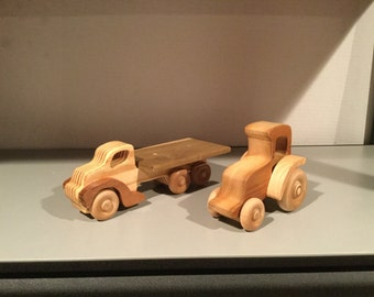 Wooden truck with tractor